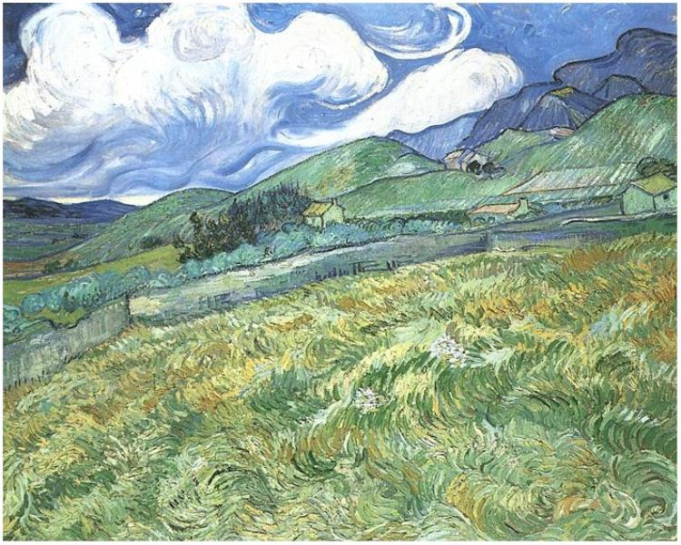 Mountainous-Landscape-Behind-Saint-Paul-Hospital - Van Gogh