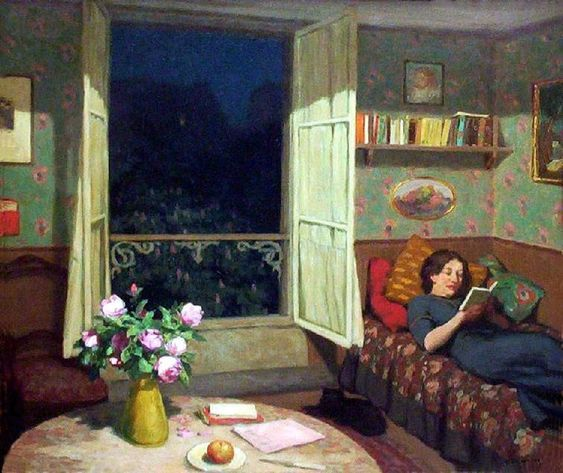 Vilma Reading on a sofa_ by Frantisek Tavik Simon (Czech 1877-1942)