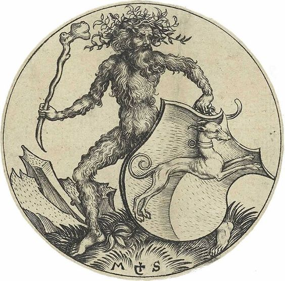 Wodwo or Wild Man of the Woods by Martin Schongauer 15th century engraving