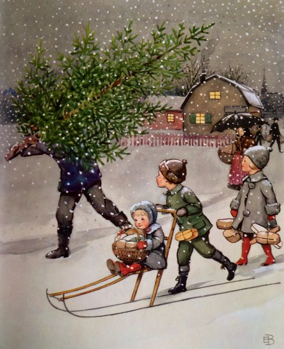 Elsa Beskow -sled, children, tree